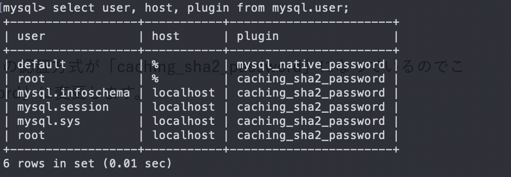 mysqlのユーザ情報の確認
